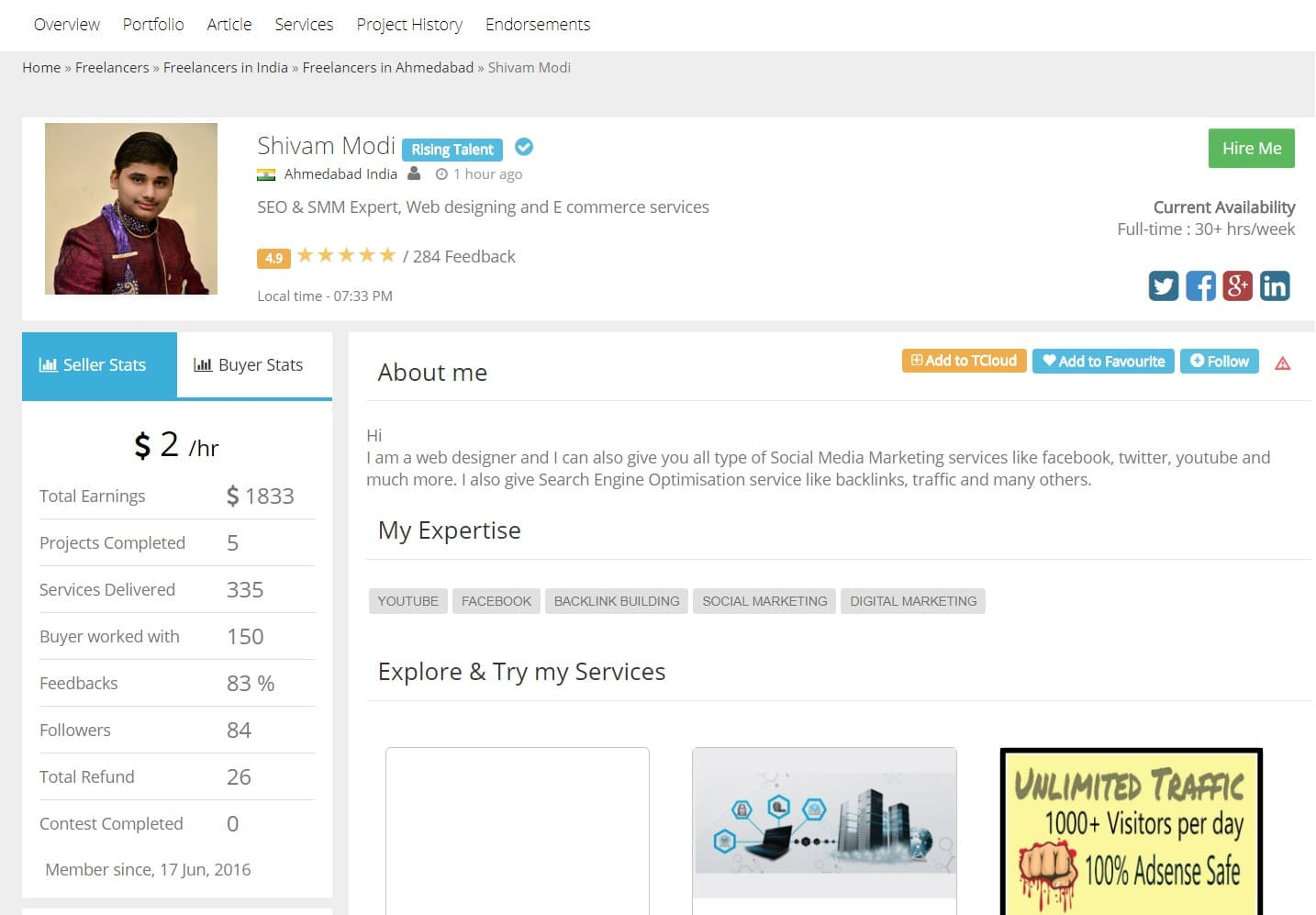 A sample of a freelancer's profile in Truelancer