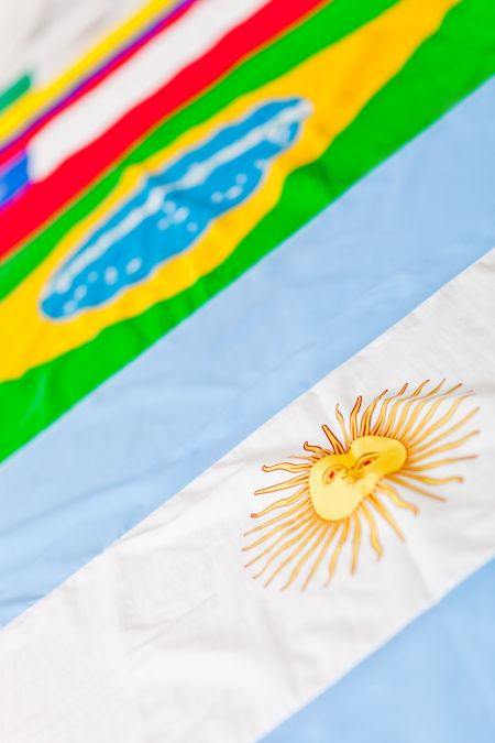 Close up picture of different South American flags