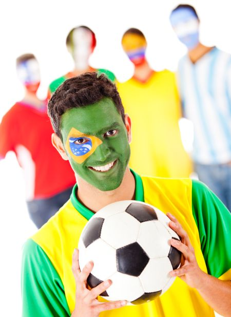 Brazilian football fan leading a Latinamerican group - isolated over a white background