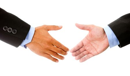 Business handshake - isolated over a white background