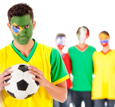 Brazilian football fan with a group of Latinamerican people