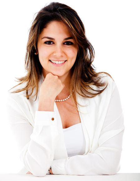 Successful businesswoman looking confident - isolated over white