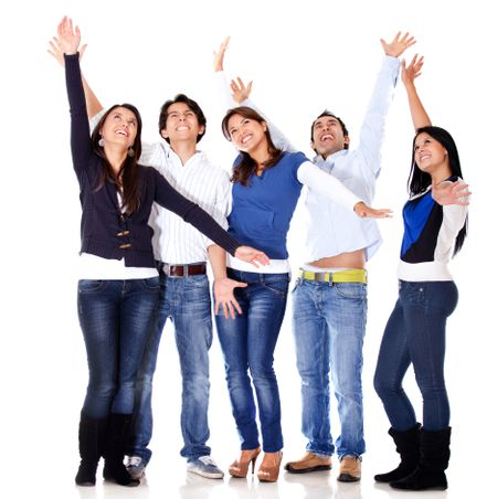 Happy group of people celebrating - isolated over a white background