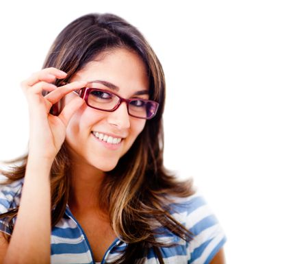 Beautiful woman wearing glasses - isolated over a white background