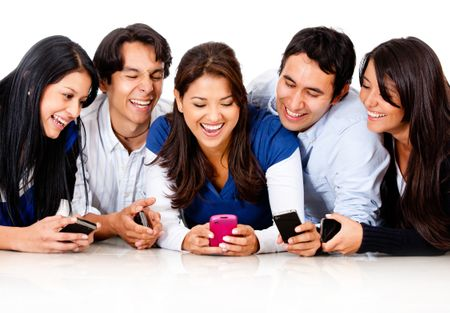Happy group of friends gossiping on a cell phone