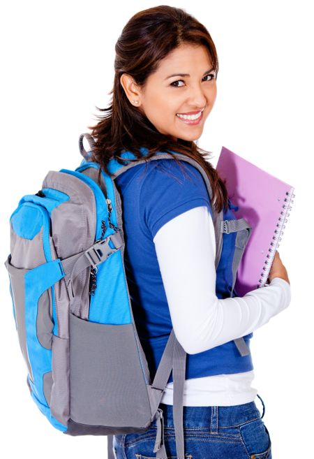 Female student with a backpack - isolated over a white background