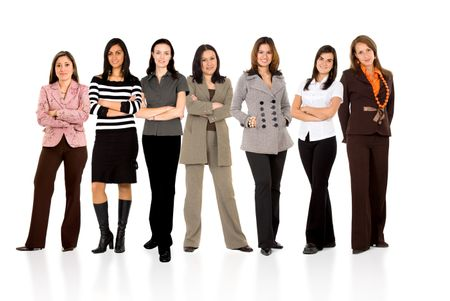 business team formed of young businesswomen standing over a white background with reflections