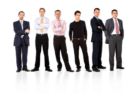 business team formed of young businessmen standing over a white background with reflections