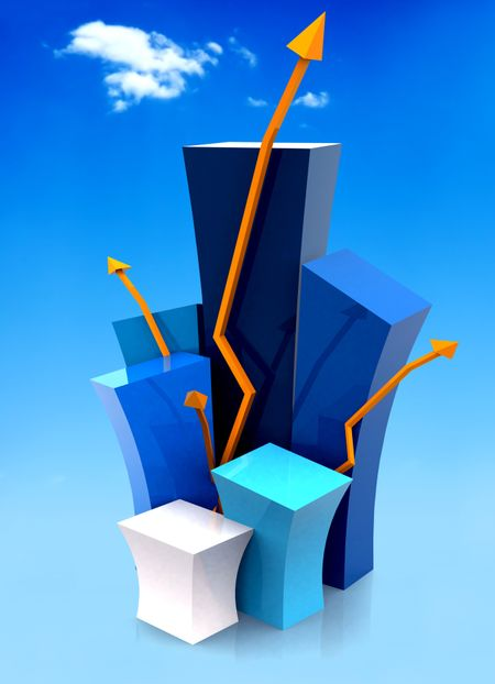 3d growth illustration with the sky in the background