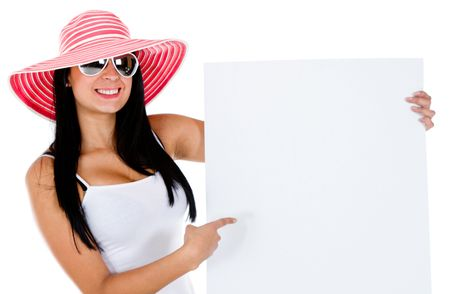 Female tourist with a banner - isolaed over a white background