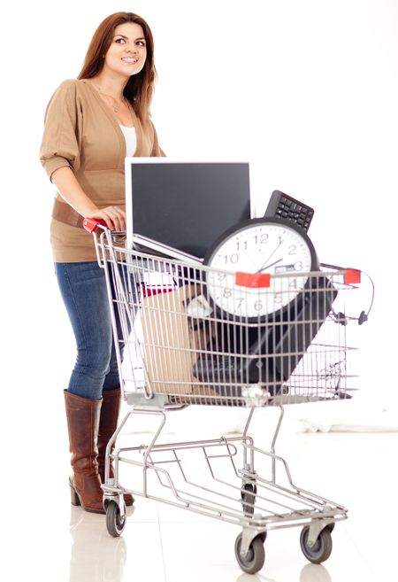 Woman buying office supplies - isolated over a white background