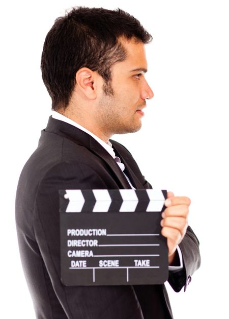 Man casting for a tv role - isolated over a white background