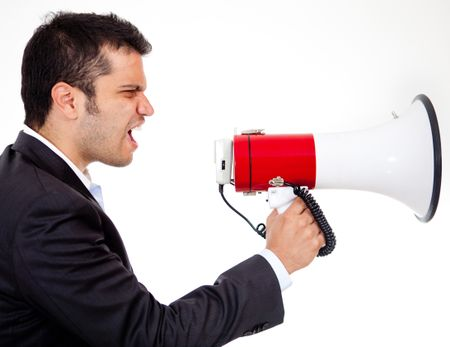 Businessman yelling through a megaphone - isolated over white