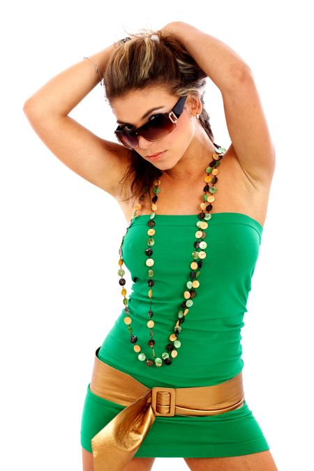 fashion or casual woman portrait wearing sunglasses - isolated over a white background