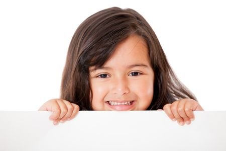 Little girl holding a banner - isolated over a white background