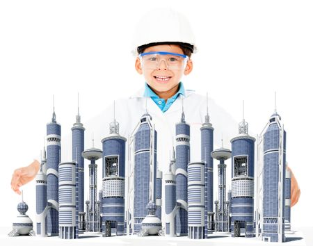 Boy with a modern city and a helmet - isolated over a white background