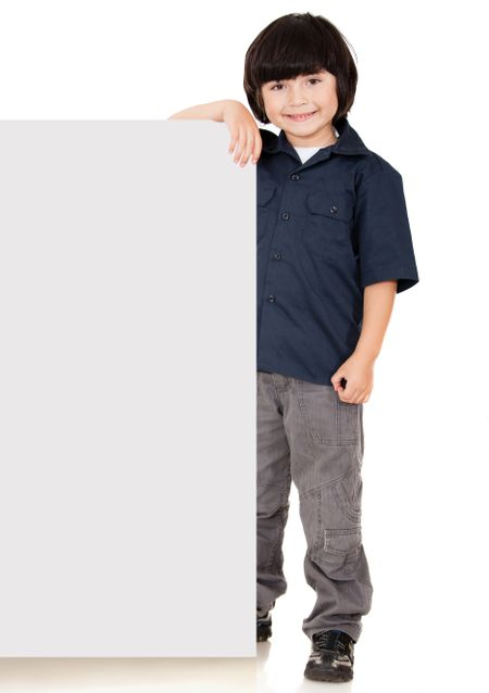 Boy holding a banner - isolated over a white background