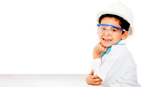 Young male engineer wearing a helmet - isolated over white
