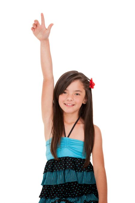 Girl rising her hand - isolated over a white background