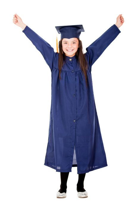 Happy girl graduating with arms up - isolated over a white background
