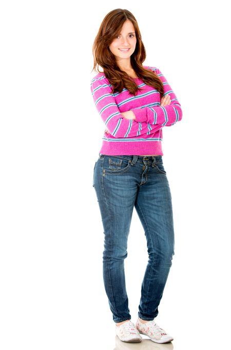 Casual young woman - isolated over a white backgrond