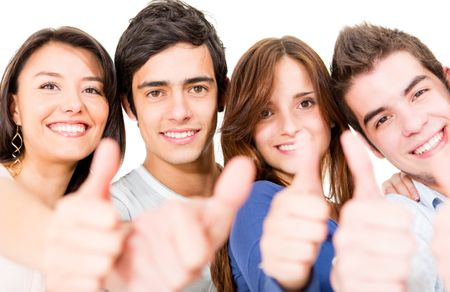 Group of people with thumbs up - isolated over a white background