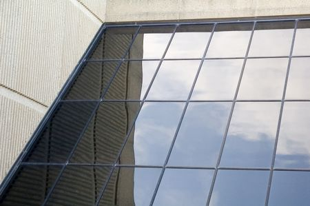 Angled window of college building