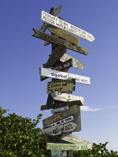 Multidirectional signpost by a beach near Sarasota, Florida