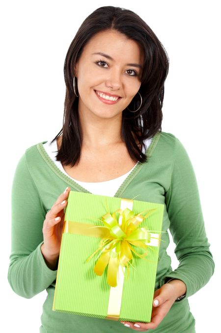 woman with a gift isolated over a white background