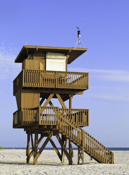 Two-story lifeguard tower at Holmes Beach, Florida