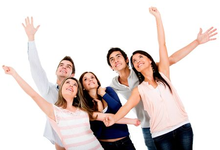 Happy group of friends with arms up - isolated over white