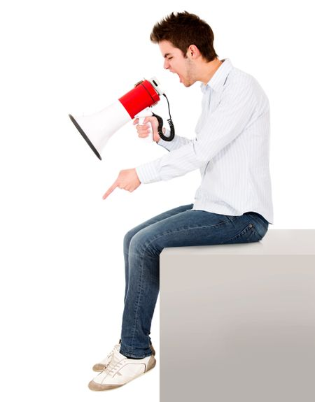 Man yelling with a megaphone - isolated over a white background