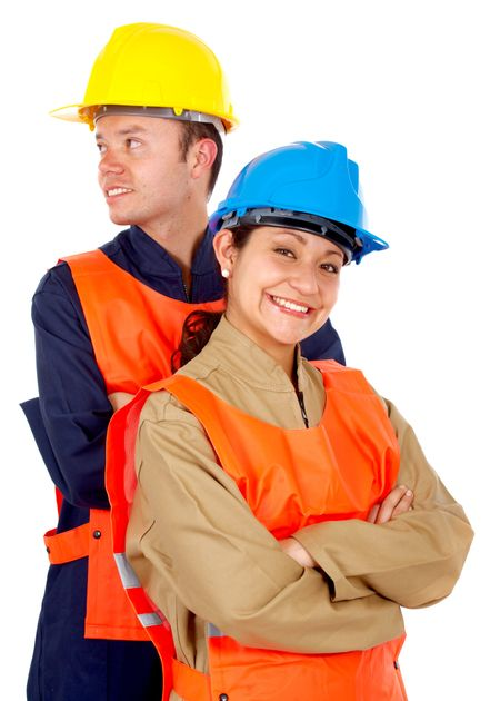 couple of manual workers isolated over a white background