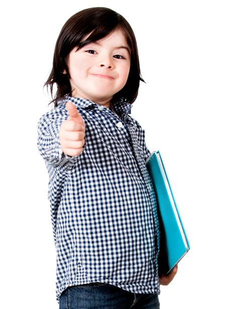 Young male student with thumbs up - isolated over a white background