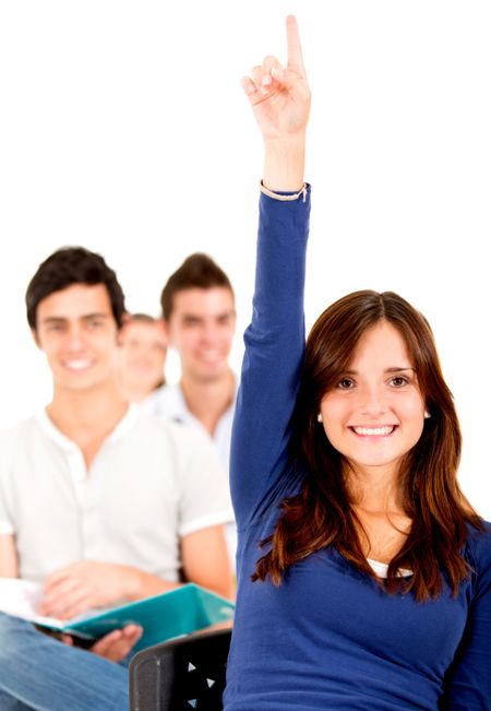 Female student in class raising hand - isolated over a white background