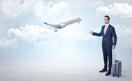 Elegant agent hitchhiking with departing airplane concept