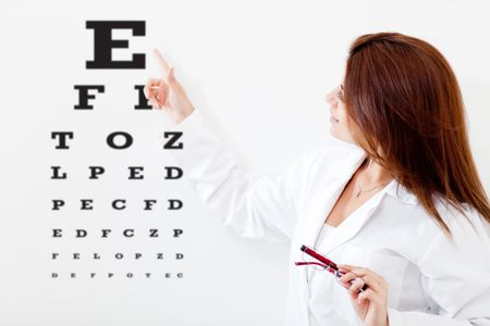 Female eye doctor making a vision test with letters on a board
