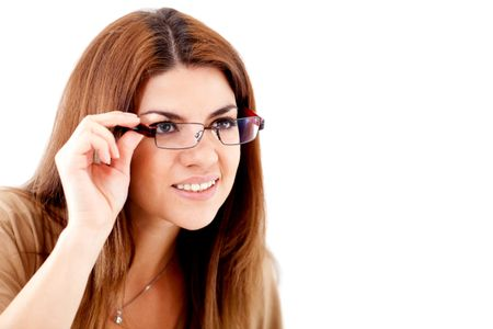 Woman struggling to see and wearing glasses - isolated over white