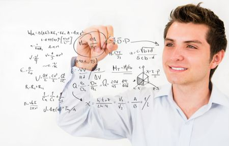 Male student writing math formulas� education portrait
