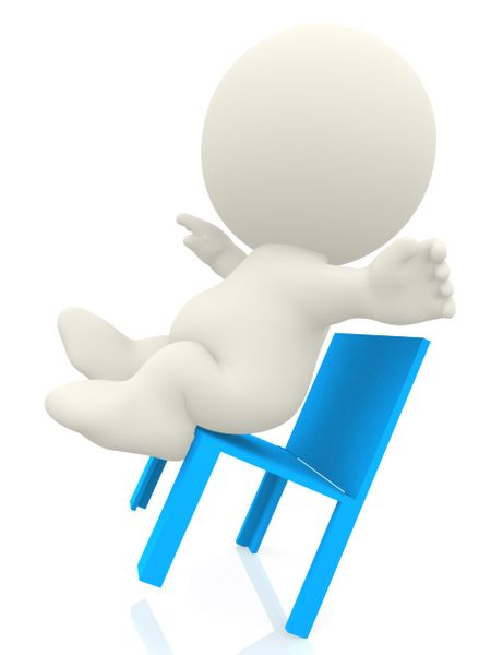 3D person falling from a chair - isolated over a white background