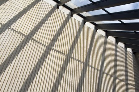 Skylight shadows on supporting wall