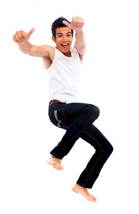 happy man jumping of success isolated over a white background