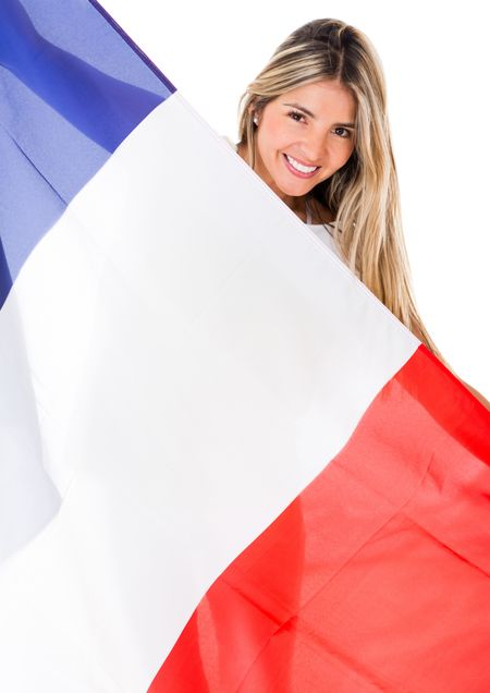French woman with the flag of France - isolated over a white background