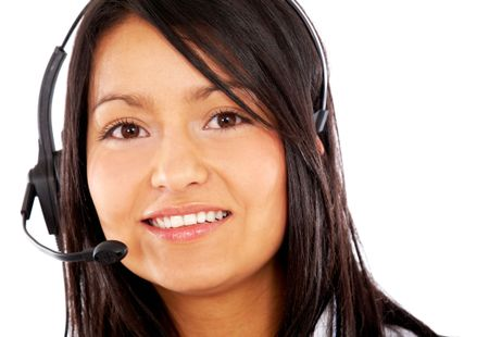 beautiful businesswoman customer service representative - smiling isolated over a white background