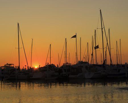 Marina silhouette at sunset