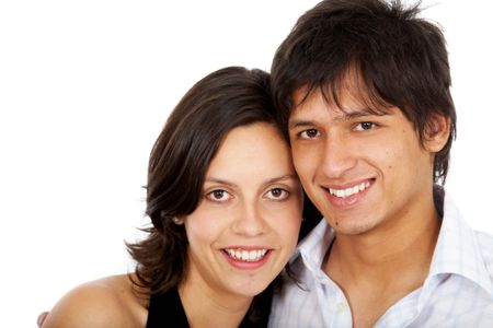 happy young couple portrait smiling isolated over a white background