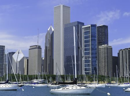 Boater's view of Chicago skyline in summer