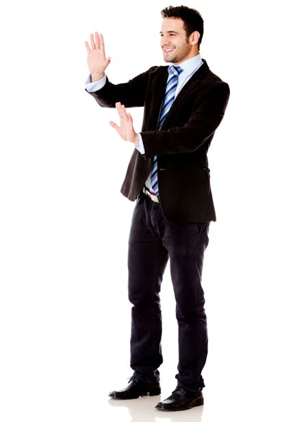 Business man moving something imaginary - isolated over white