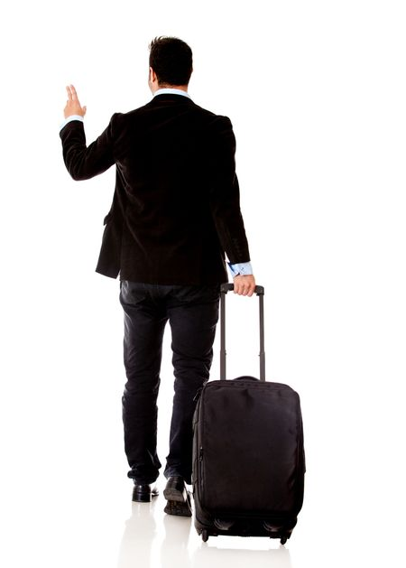 Business man traveling with a bag - isolated over white background