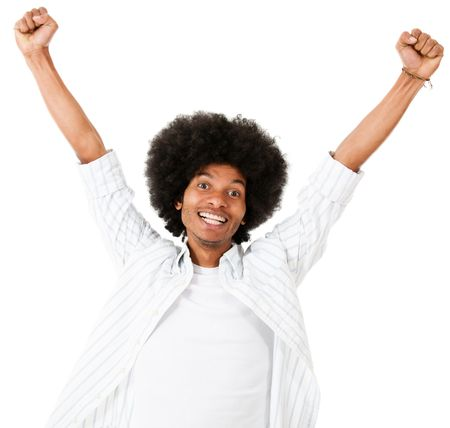 Excited black man with arms up - isolated over a white background